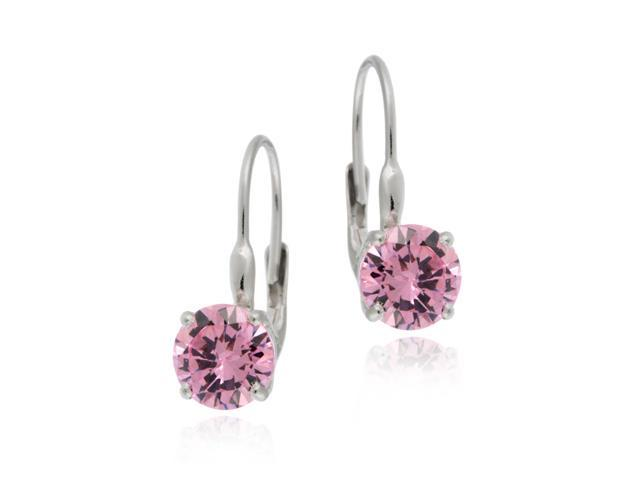 Sterling Silver Round Pink CZ Leverback Earring
