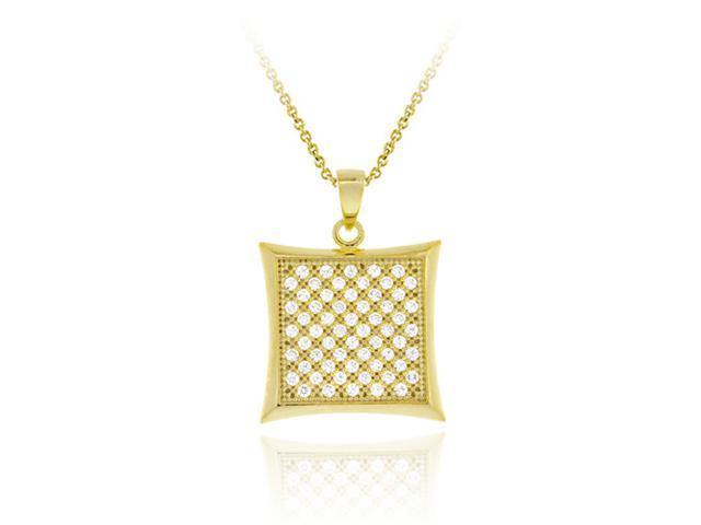 18K Gold over Sterling Silver CZ Micro Pave Square Pendant
