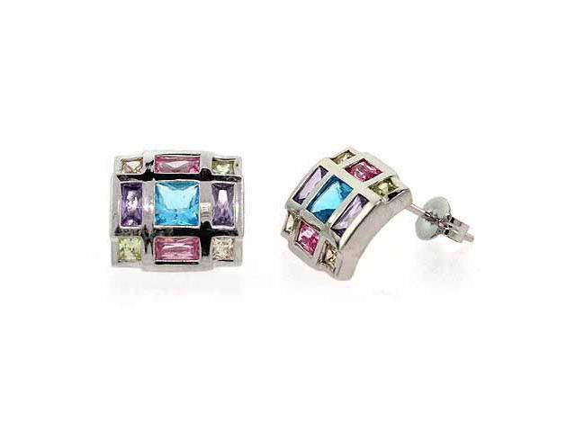 Sterling Silver Multi Color cz Square Earrings