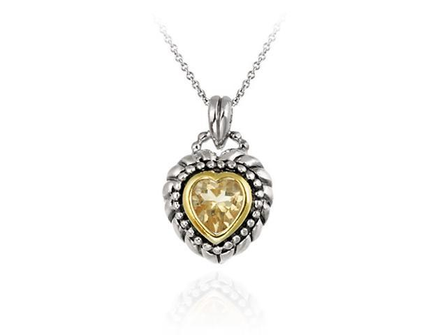 Sterling Silver Two Tone Designer Inspired Champagne CZ Heart Pendant w/ Beaded
