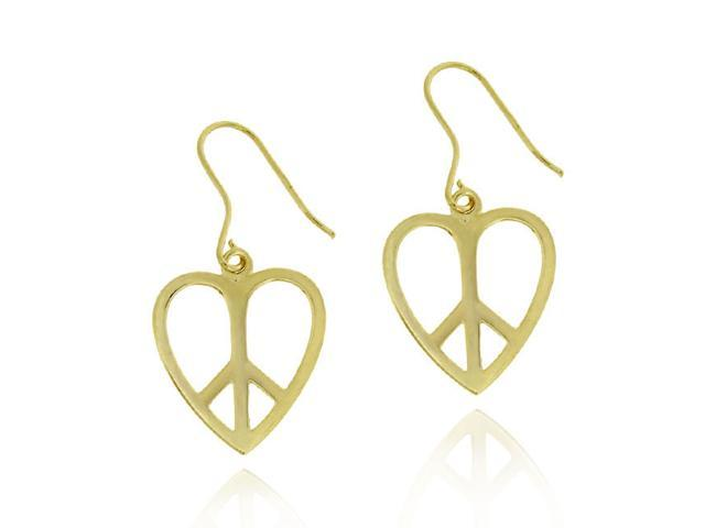 18k Gold over Silver Heart Peace Sign Earrings