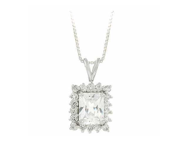 Sterling Silver Simulated Diamond cz Rectangle Pendant