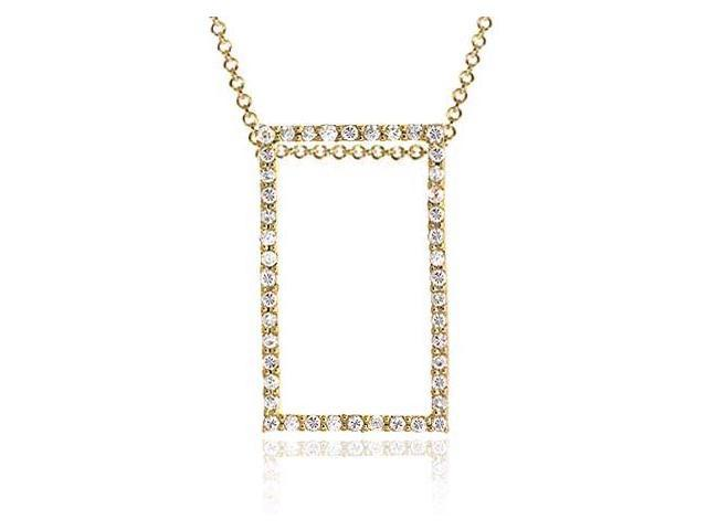 18K Gold/ Sterling Silver CZ Rectangle Pendant