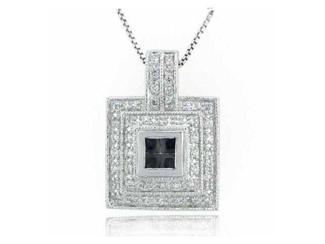 Sterling Silver Simulated Diamond CZ and Blue Cubic Zirconia Square Pendant