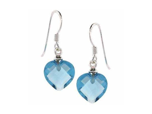Sterling Silver Simulated Aquamarine CZ Dangling Heart Earrings