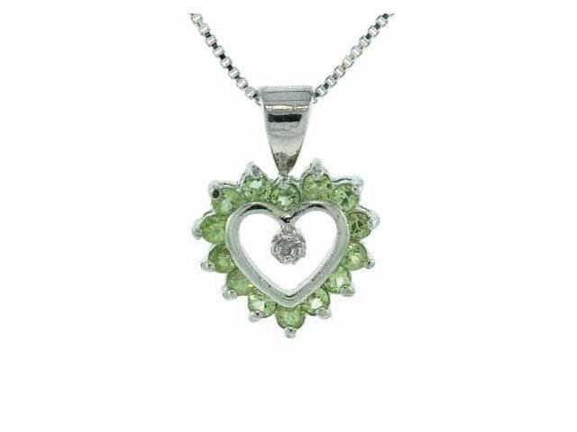 Sterling Silver Genuine Diamond accent and Genuine Peridot Heart Pendant