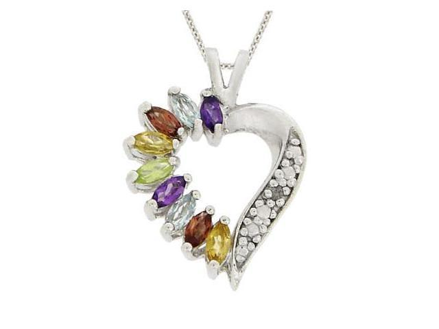 Sterling Silver Genuine Diamond Accent & Multi Gemstone Heart Pendant