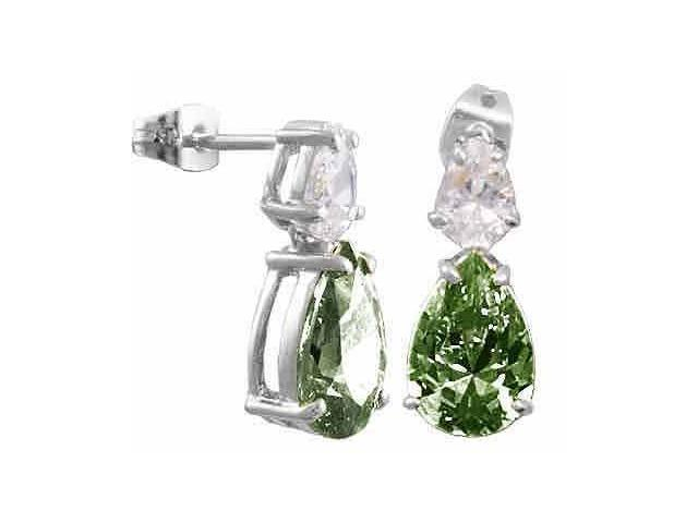 Olive Cubic Zirconia and Simulated Diamond CZ Post earrings