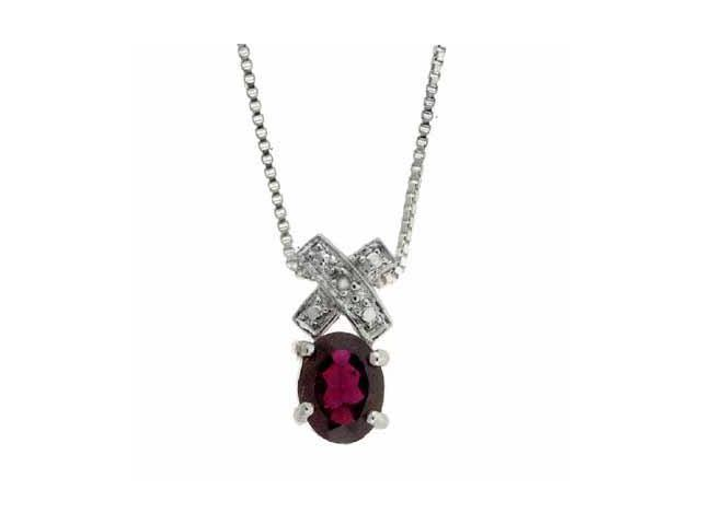 Sterling Silver Genuine Garnet and Genuine Diamond Accent X and O Pendant