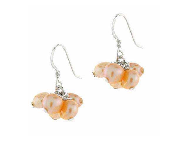 Genuine Freshwater Cultured Biwa Peach Pearl Five Cluster Earrings