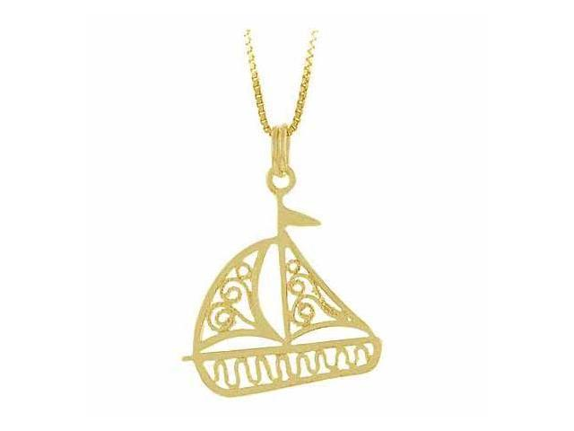 Vermeil (24k Gold over Sterling Silver) Sea Ocean Filigree Toy Sail Boat Pendant