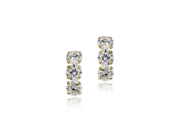 14k Gold Triple CZ Stud Earrings