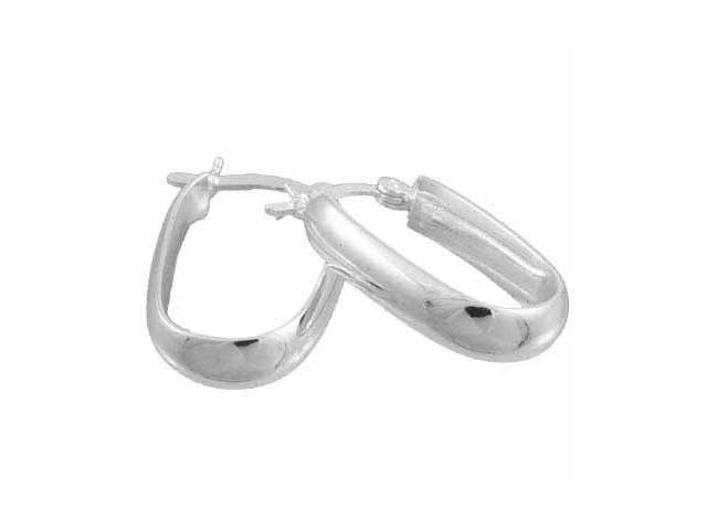 Sterling Silver  Hoop Earrings Oval