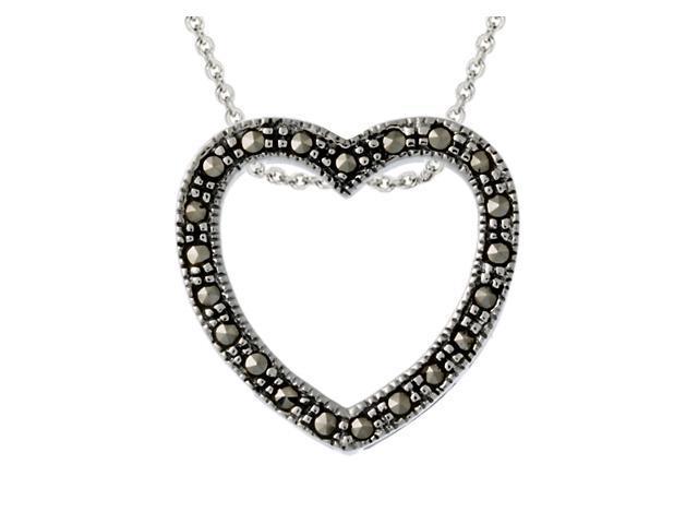 Sterling Silver Marcasite Open Heart Pendant