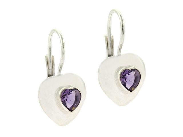 Bold Sterling Silver Genuine Amethyst stone Heart LeverBack Lever Back Earrings