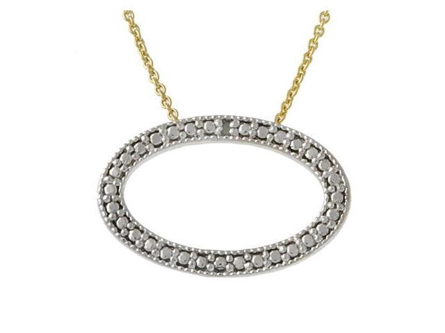 18k Gold over Silver Diamond Accented Oval Pendant
