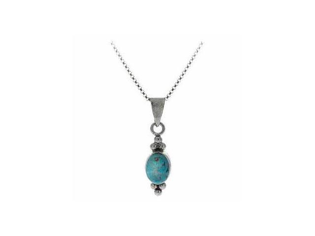 Sterling Silver Bali Bead Reconstituted Blue Turquoise Stone Oval Pendant