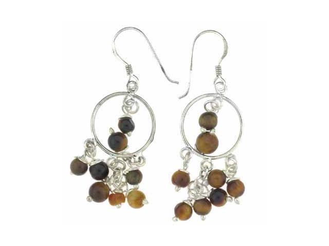 Tiger Eye Stone Beads Chandelier Hoop Silver Earrings