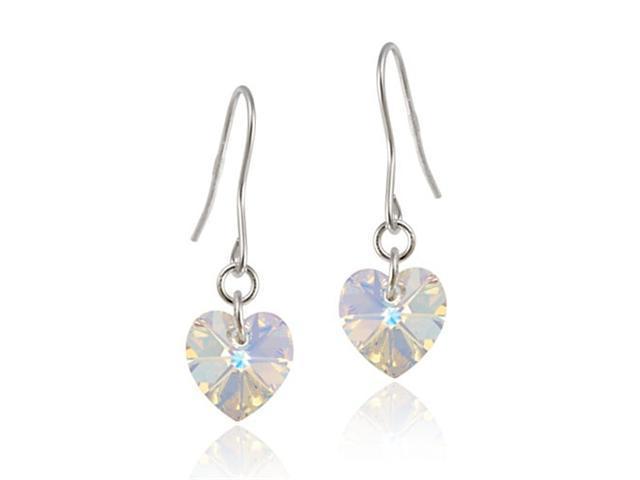 Sterling Silver Aurora Borealis Swarovski Crystal Heart Dangle Earrings