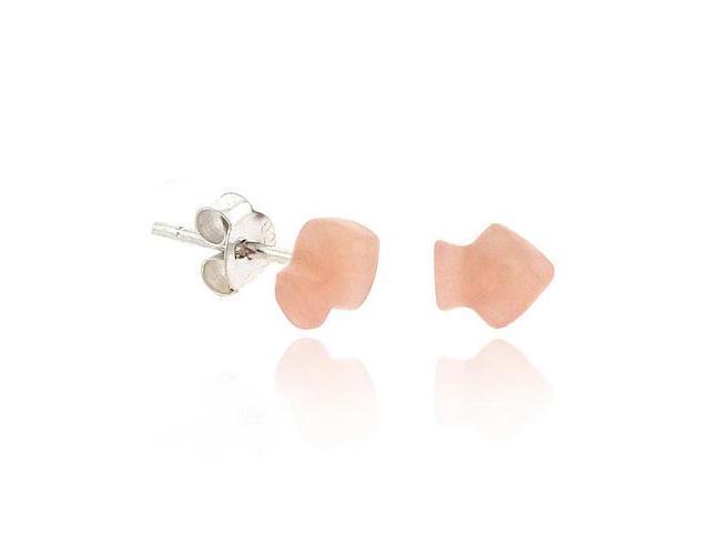 Retro Sterling Silver .925 Light Pink Arrow Mini Small Kid Stud Earrings