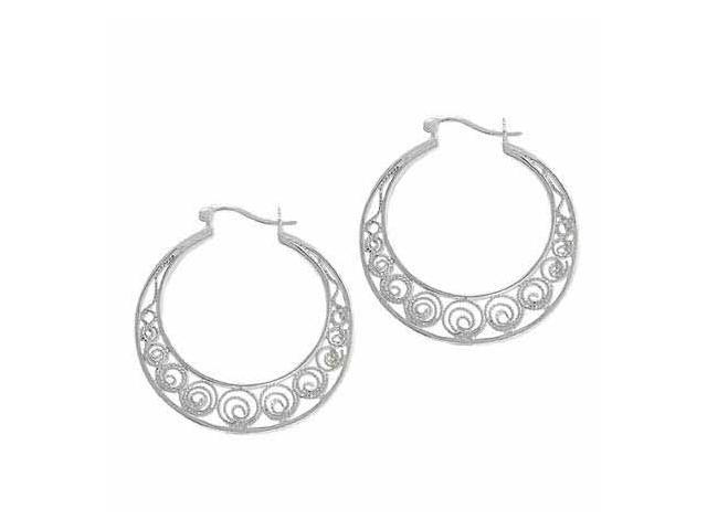 Sterling Silver Filigree 34mm Hoop Earrings