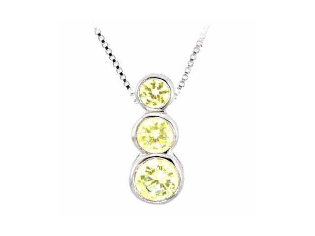 Sterling Silver Past Present and Future Yellow Cubic Zirconia Pendant