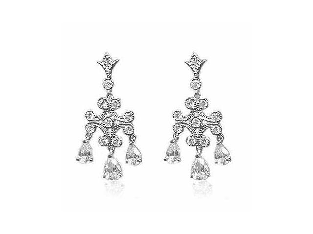 Majestic Chandelier Teardrop Simulated Diamond CZ Silver Earrings