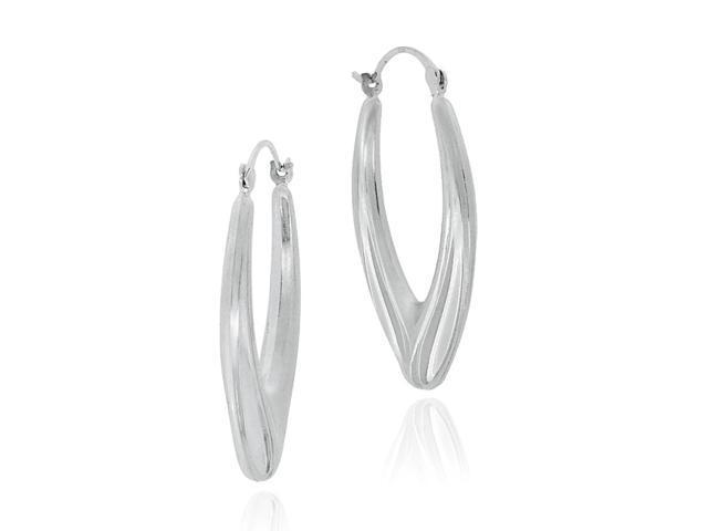 Sterling Silver Oval Hoop Earrings