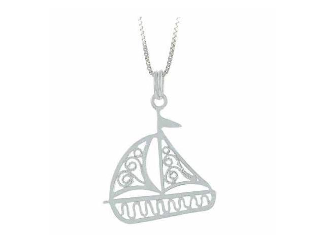 Sterling Silver Sea Ocean Filigree Toy Sail Boat Pendant