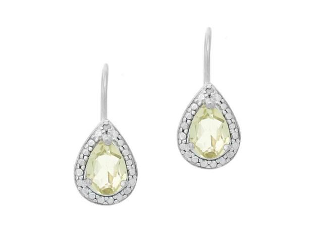 Sterling Silver 2.5 CT. Lime Quartz and Diamond Pear Shaped Leverback Earrings
