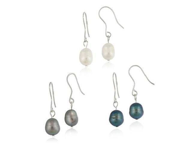 Sterling Silver Baroque Freshwater Cultured Pearl White, Grey, Peacock 3 Set Ear