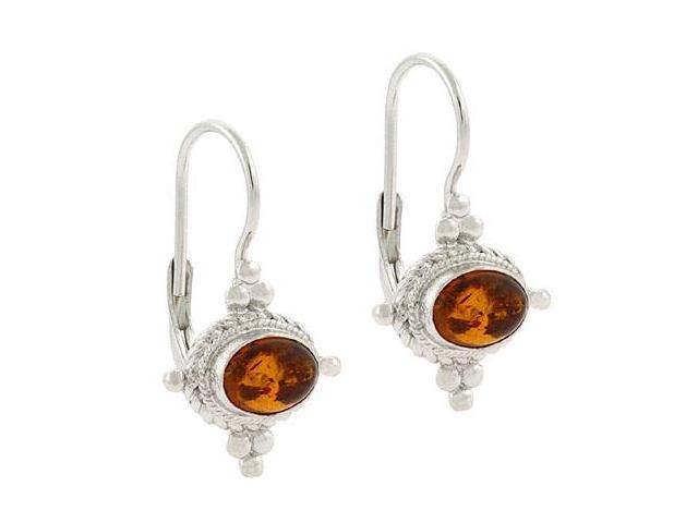 Sterling Silver Genuine Amber Stone Bali Bead LeverBack Earrings