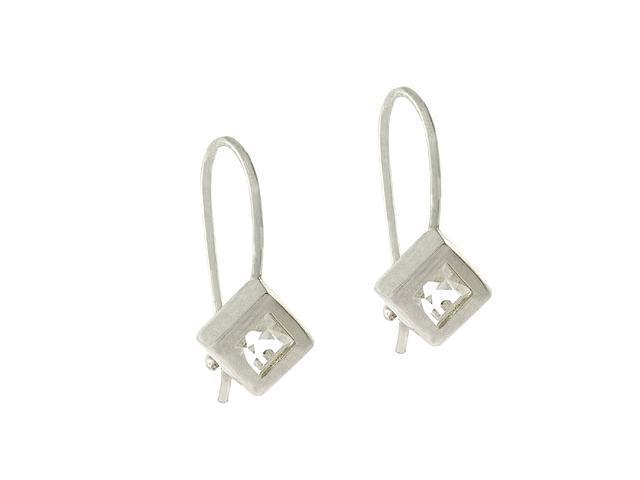Sterling Silver .925 Simulated Diamond cz Fish Hook Cube Dangle Earrings