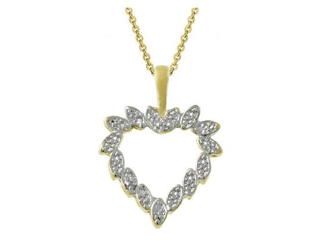 18k Gold over Silver Two-Toned Diamond Accent Heart Pendant