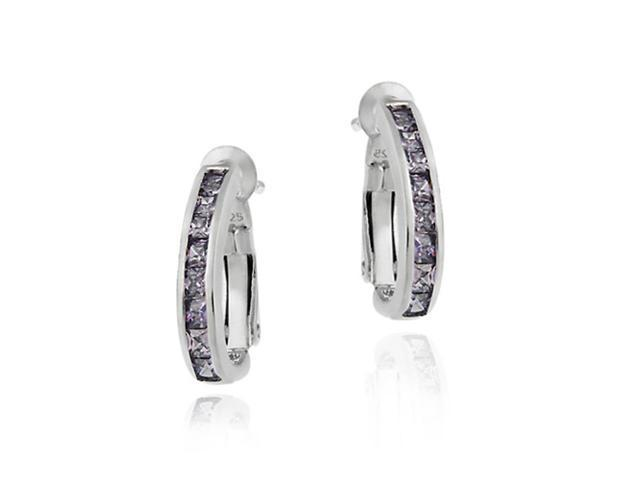 Sterling Silver Channel Set Simulated Amethyst Half Hoop Earrings