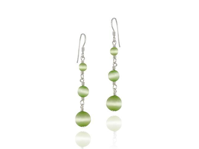 Light Green Cats Eye and Sterling Silver Dangle Bead Earrings
