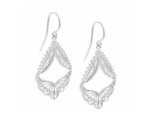Sterling Silver Delicate Filigree Angel Wings Chandelier Earrings