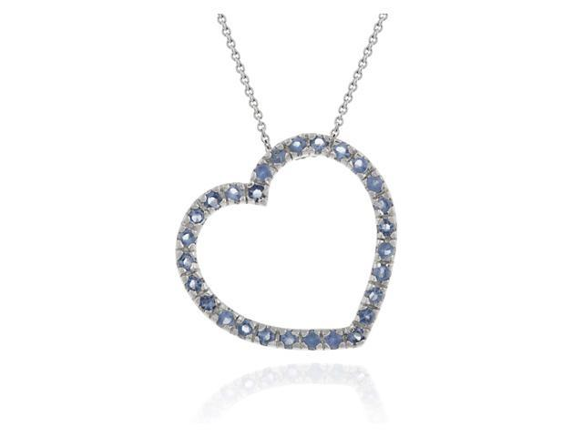 Sterling Silver large Floating Heart Slide Simulated Tanzanite CZ Pendant