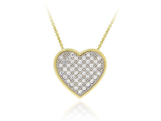 18K Gold over Sterling Silver CZ Micro Pave Heart Two-Tone Slide Pendant