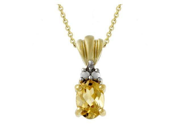 18k Gold over Silver Diamond Accented Oval Citrine Pendant