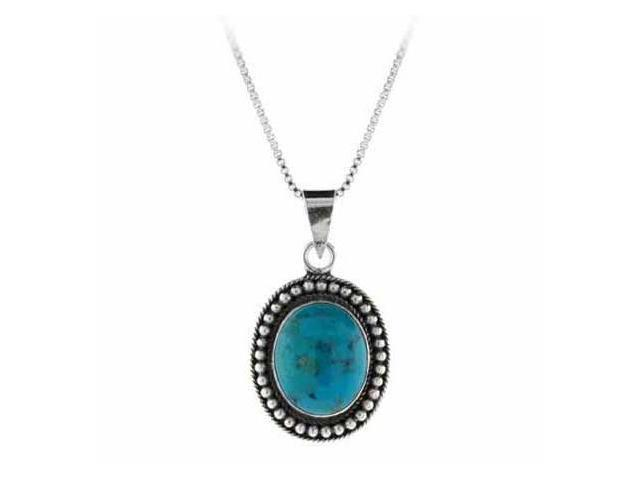 Reconstituted Blue Turquoise Stone Sterling Silver Bali Beaded Oval Pendant