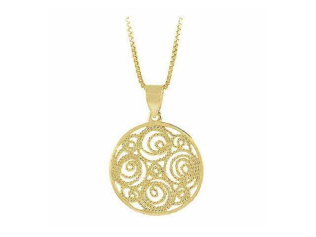 Vermeil (24k Gold over Sterling Silver)  Filigree Round Circle Pendant