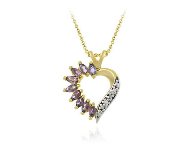 Vermeil (24kt Gold over Silver) Genuine Amethyst and Genuine Diamond Accent Hear