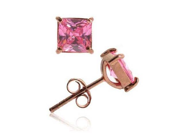 18K Rose Gold over Sterling Silver Pink CZ 5mm Square Stud Earrings