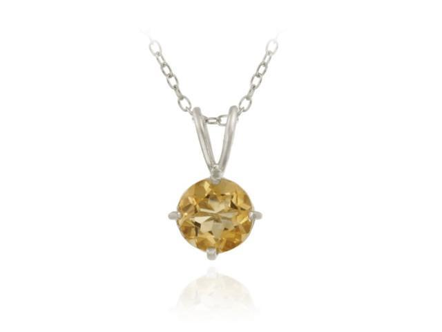 Sterling Silver 1.2ct. TGW Citrine 7mm Round Solitaire Pendant, 18