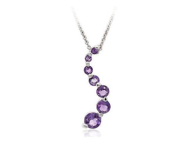 Sterling Silver Genuine Amethyst Classic Journey Pendant