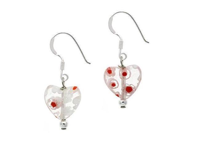 Sterling Silver .925 Murano Glass White Bead Millefiori Heart Dangle Earrings