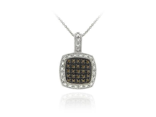 Sterling Silver 1/4ct TDW Champagne Diamond Square Pendant