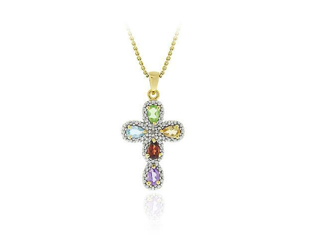 18K Gold over Sterling Silver Multi Gemstone & Diamond Accent Cross Pendant