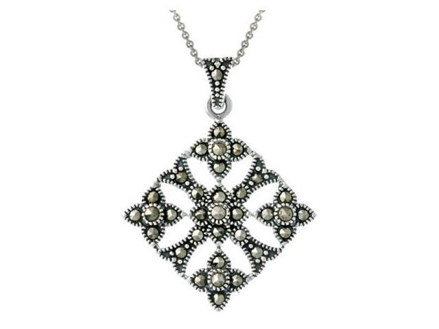 Sterling Silver & Marcasite Diamond Shaped Filigree Pendant